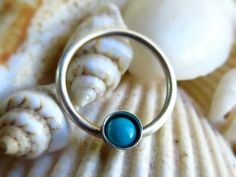 Turquoise Septum Ring Turquoise Nose Ring by LarryJewelryShop