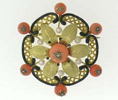 French Coral, Pearl, diamond, and Enamel Brooch, circa 1860 - note the tiny diamond stars on each coral.