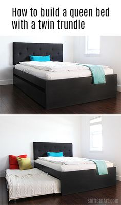 Perfect for guest room !!! How to: build a queen bed with twin trundle - IKEA hack