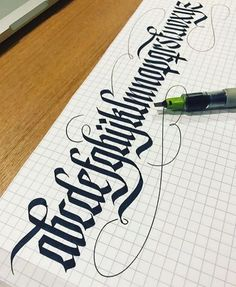 A beautifully done alphabet by with a parallel pen. Gothic Lettering, Graffiti Lettering, Graffiti Alphabet, Calligraphy Letters, Typography Letters, Caligraphy, Calligraphy Doodles, Quote Typography, Font Alphabet