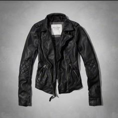 Abercrombie black leather Moto jacket Vegan leather biker jacket with quilted elbows Abercrombie & Fitch Jackets & Coats