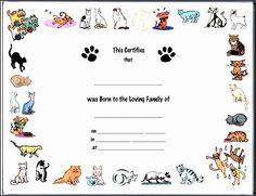 Blank Birth Certificate for School Project Elegant 6 Creative Birth Certificate Template Sampletemplatess Free Printable Certificate Templates, Birth Certificate Template, Adoption Certificate, Certificate Design, Dog Birth, Halloween Names, Award Template, Pregnant Dog, School Projects