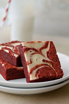 These red velvet brownies taste as good as they look. They are moist, tasty, and swirling with color.  Recipe: Red Velvet-Peppermint Swirl Brownies