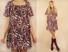 Vintage 60s Psychedelic Paisley Floral Print Mod by LucyInDesguise, kr350.00