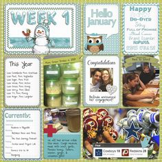 Project Life 2013 Title Page, Week 1 and FREEBIES #Free #JournalCards
