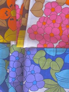 Set of 6 Unused Vintage 1970s Flowery Napkins by Pommedejour, $36.00