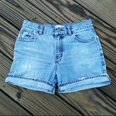 Calvin Klein High Waist Jean Shorts Stylish, high waisted, distressed jean shorts. There is a tear, along the pocket, on the backside. Calvin Klein Shorts Jean Shorts