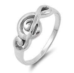 Sterling Silver Music Note Ring Available in Sizes 4 5 6 7 8 9 10