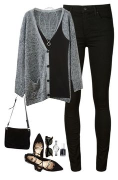 """""""Sweater cardigan, pointed lace up flats & pendant necklace"""" by steffiestaffie ❤ liked on Polyvore featuring Citizens of Humanity, Chicnova Fashion, Donna Karan, Essie, River Island, J.Crew, FOSSIL, Proenza Schouler and Chico's"""
