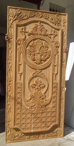 33 Inspiring Carved Wood Doors Design Ideas - Custom wood doors, whether elegant or rustic, are a durable choice that can really set off the style of your home. With the latest custom exterior doo. Front Door Design Wood, Double Door Design, Door Gate Design, Wooden Door Design, Wooden Doors, Wood Design, Pooja Room Door Design, Door Design Interior, Custom Exterior Doors