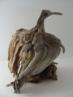 wing spread bird driftwood