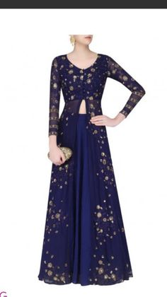 Navy blue jacket and lehenga with sequins embroidery. This outfit is a custom made garment which include the jacket and lehenga(skirt). Jacket is in georgette and skirt is in silk. A stole can be bought separately. If interested we will send you the measurement form which you will