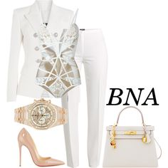 A fashion look from August 2016 featuring Balmain blazers, Basler pants and Christian Louboutin pumps. Browse and shop related looks. White Fashion, Work Fashion, Fashion Looks, Fashion Outfits, Womens Fashion, Lila Outfits, Classy Outfits, Stylish Outfits, Mode Style