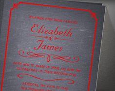 Black Red Chalkboard Wedding Invitation