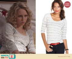 Carrie's grey glasses print sweater on The Carrie Diaries. Outfit Details: http://wornontv.net/23916 #TheCarrieDiaries