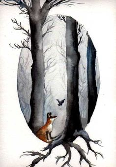 watercolor, art goes off faux matting, The Fairytale of Fox and Bat by ~Dasycneme