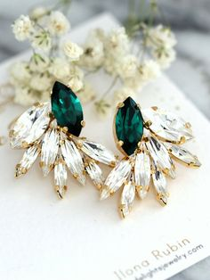 Angelina Jolie inspired Emerald green earrings Green by Arctida Emerald Earrings Vintage Earrings Champagne Gold Earrings Estate . Cluster Earrings, Stud Earrings, Emerald Green Earrings, Jewelry Photography, Stylish Jewelry, Wedding Earrings, Earring Backs, Fashion Earrings, Wedding Jewelry