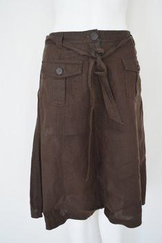 J.Crew Linen Linen A-line Skirt Brown