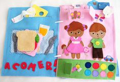 Quiet Book page 1-2 Let´s make a sandwich and dress up by Fieltrunguis, via Flickr