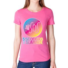 Rainbow Sos 5 Seconds of Summer Women T Shirt ($8.99) ❤ liked on Polyvore featuring tops, t-shirts, black, women's clothing, holiday party tops, summer tees, black tee, black t shirt and summer tops