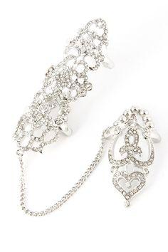One of our best selling rings! Designer inspired crystal linked full finger ring.