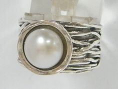Sterling Silver Wire Bundle Ring With White Pearl