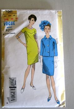 1960s Dress Jacket Pattern Bust 43 Vogue 7061 by QuiltCitySue, $14.00