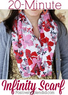 Infinity scarf tutorial at Positively Splendid. These can be whipped up in a mat… Infinity scarf tutorial at Positively Splendid. These can be whipped up in a matter of minutes! Easy Sewing Projects, Sewing Projects For Beginners, Sewing Tutorials, Sewing Hacks, Sewing Patterns, Sewing Ideas, Sewing Tips, Scarf Patterns, Clothes Patterns