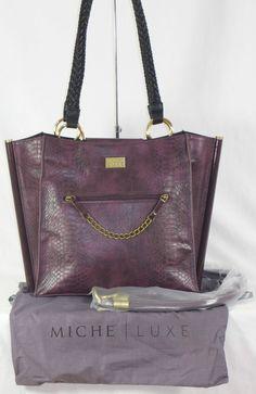 Miche Lux Cadiz, Demi size, dark purple with matching straps and a silky storage bag.