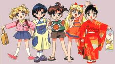 the sailor scouts as little kids! i loved it when they got turned into little kids in the sailor moon movie super s the black dream hole