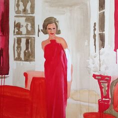 Lee Radziwill-There's something electric, alluring, glamorous and ephemeral about Liz Markus' work, whether she's portraying the denizens we all love from the beau mode — Bianca Jagger, Jane Birkin, Lee Radziwill, Brigitte Bardot — or beautiful interiors from renowned decorators. Here, we talk to the New York artist about her work and process.