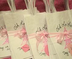 Paris Themed Party Favor Bags Set of 35 Eiffel Tower Personalized White Bag with Handle Ohhh lala. $62.99, via Etsy.