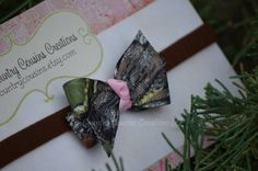 Mossy Oak Breakup Camo & Pink Small Hair Bow by LilCountryCousins, $4.75