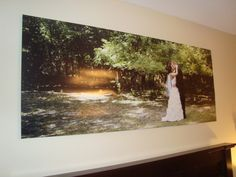 Wedding photo above the bed. 2' x 5' custom ordered from zazzle.com
