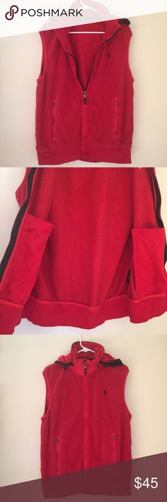 Polo Ralph Lauren large red hooded fleece vest Excellent condition. Can be unisex, hood can be folded in Polo by Ralph Lauren Jackets & Coats Vests
