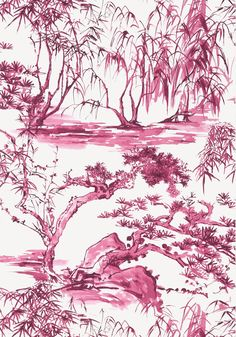 KYOTO, Fuchsia, AT9831, Collection Nara from Anna French Anna French, French Collection, View Wallpaper, Drops Patterns, Chinoiserie Chic, Japanese Architecture, Japanese Design, Watercolor Techniques, Toile