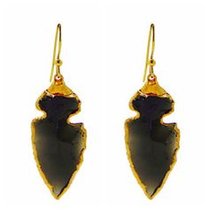 Obsidian Arrowhead Earrings