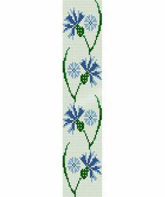 Loom stitch pattern -blue cornflower cuff bracelet, PDF file pattern ,Delica seed beads pattern, beadwork, DIY by candice Loom Bracelet Patterns, Peyote Stitch Patterns, Seed Bead Patterns, Bead Loom Bracelets, Weaving Patterns, Flower Patterns, Beaded Embroidery, Cross Stitch Embroidery, Cross Stitch Flowers