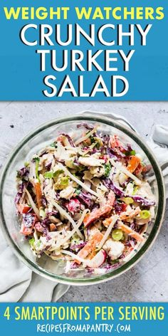 This easy and Healthy Turkey Salad recipe with a Tahini dressing is the perfect balance of colourful, crunchy and creamy. It requires only a few ingredients and comes together in as little at 10 mins. Easy Potluck Recipes, Easy Salads, Healthy Salad Recipes, Ww Recipes, Turkey Recipes, Lunch Recipes, Appetizer Recipes, Dinner Recipes, Easy Meals