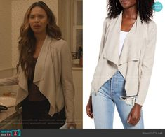 Alisha Boe, Drape Front Jacket, 13 Reasons, Fashion Tv, Blank Nyc, Other Outfits, Suede Jacket, Duster Coat, Favorite Things