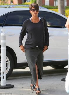Cute 'do too: Halle sported a tousled page boy hairdo