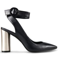 Crafted from supple black leather, these sophisticated heels combine the classic style of a pump with modern crafting techniques. With a stunning metallic finished 9.5cm* block heel and wrap around ankle strap, Harris are the perfect finishing touch to an
