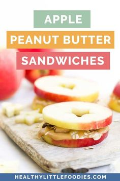 Apple Peanut Butter Sandwiches are a perfect after school snack for kids. They are fun and nutritious and your kids will love them. Easily adapted to taste. Peanut Butter Snacks, Apple And Peanut Butter, Peanut Butter Sandwich, Yummy Snacks, Healthy Snacks, Healthy Fats, Kid Snacks, Healthy Recipes, Fruit Recipes