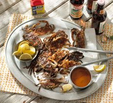 Grilled Soft-Shell Crabs with Garlic-Old Bay Butter Dunk from Cooking Club.
