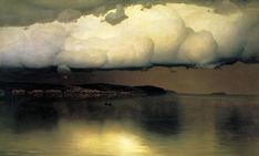 'Silence' (1890) by Russian landscape painter Nikolai Nikanorovich Dubovskoy (1859 - 1918). Oil on canvas, 30.1 x 50.4 in. via Art Inconnu