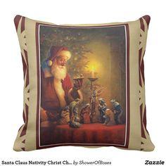 Santa Claus Nativity Christ Child in Manger Throw Pillow