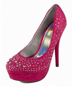 Amazon.com: Lure! By Delicious Rhinestone Platform Stiletto High-heel Dress Pumps in Fuchsia Faux Suede: Shoes