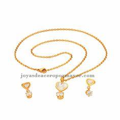 juego de dije con brillo y arete en oro dorado para mujer SSNEG47974