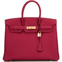 Pre-Owned Hermes Rubis Togo Birkin 35cm Gold Hardware ($21,750) ❤ liked on Polyvore featuring bags, handbags, bolsas, purses, red, colorful purses, pocket purse, hermès, pre owned handbags and multi colored purses