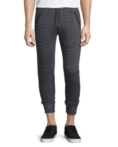 Textured Knit Drawstring Jogger Pants, Black, Women's, Size: SMALL - John Varvatos Star USA